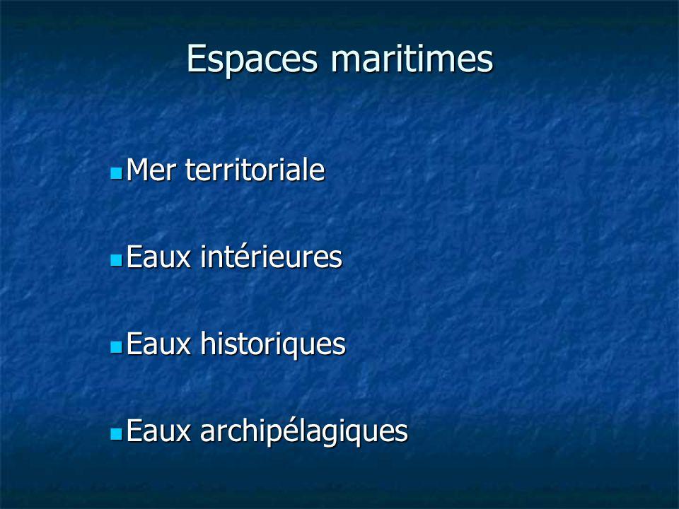 Espaces maritimes Mer territoriale Mer territoriale Eaux intérieures Eaux intérieures Eaux historiques Eaux historiques Eaux archipélagiques Eaux archipélagiques