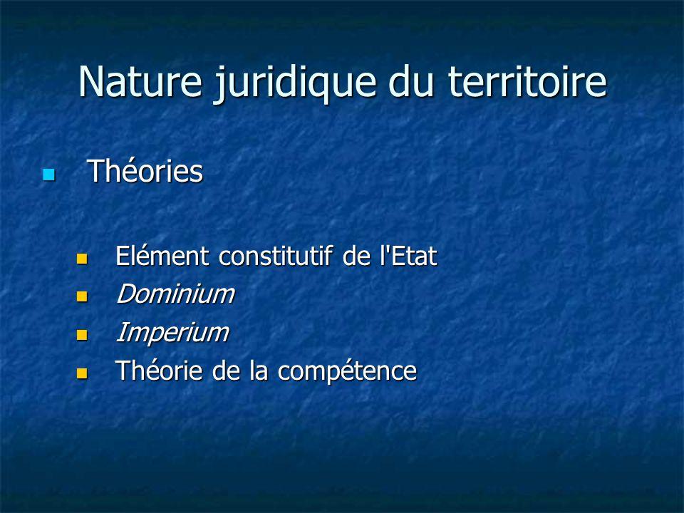 Nature juridique du territoire Théories Théories Elément constitutif de l Etat Elément constitutif de l Etat Dominium Dominium Imperium Imperium Théorie de la compétence Théorie de la compétence