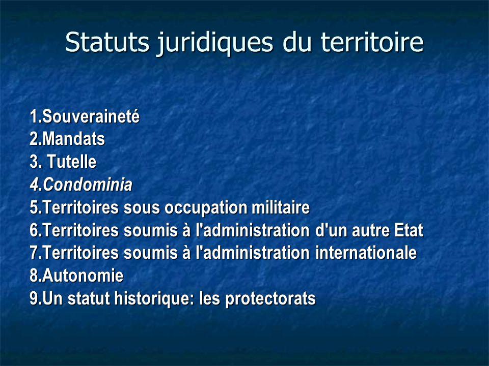 Statuts juridiques du territoire 1.Souveraineté2.Mandats 3.
