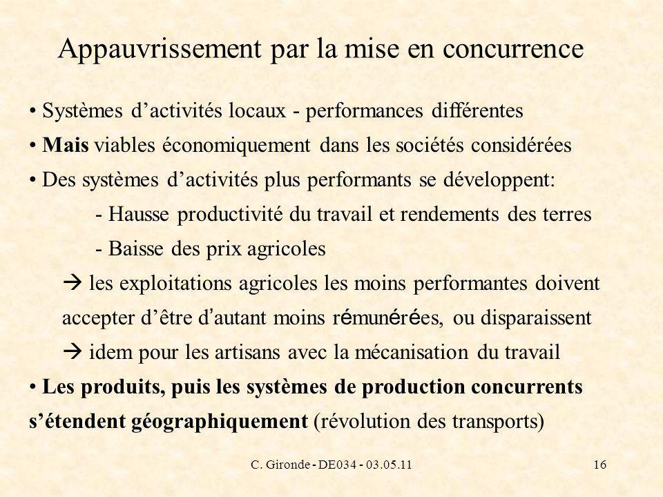 C. Gironde - DE034 - 03.05.1116 Appauvrissement par la mise en concurrence Systèmes dactivités locaux - performances différentes Mais viables économiq