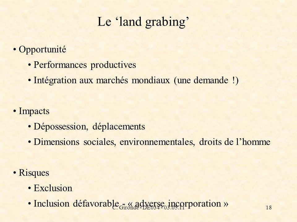 C. Gironde - DE034 - 03.05.1118 Le land grabing Opportunité Performances productives Intégration aux marchés mondiaux (une demande !) Impacts Déposses