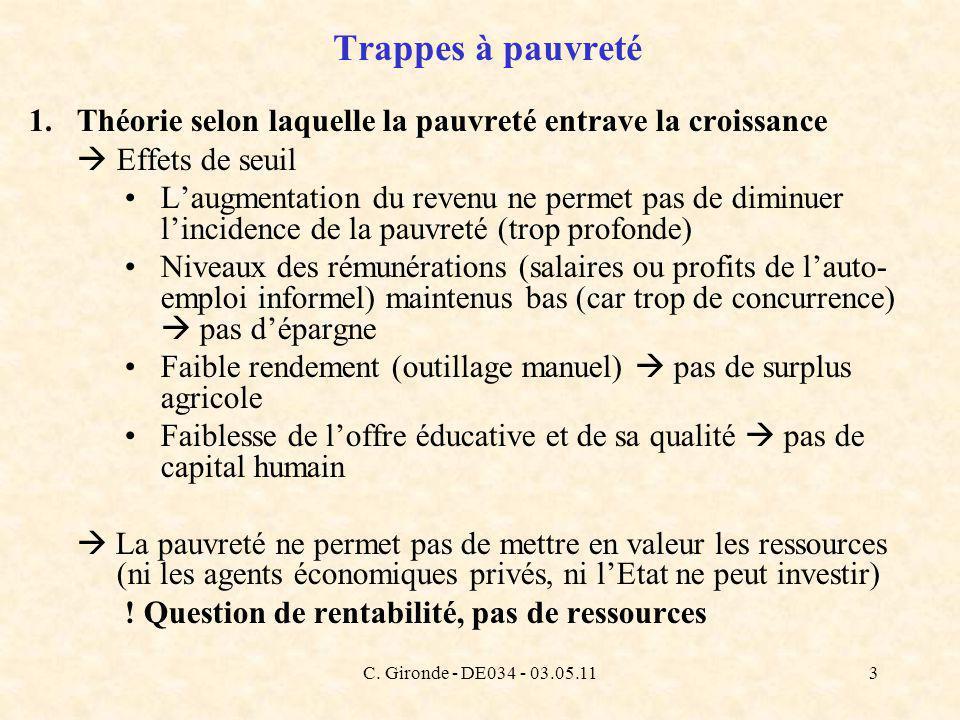 C. Gironde - DE034 - 03.05.113 Trappes à pauvreté 1.Théorie selon laquelle la pauvreté entrave la croissance Effets de seuil Laugmentation du revenu n