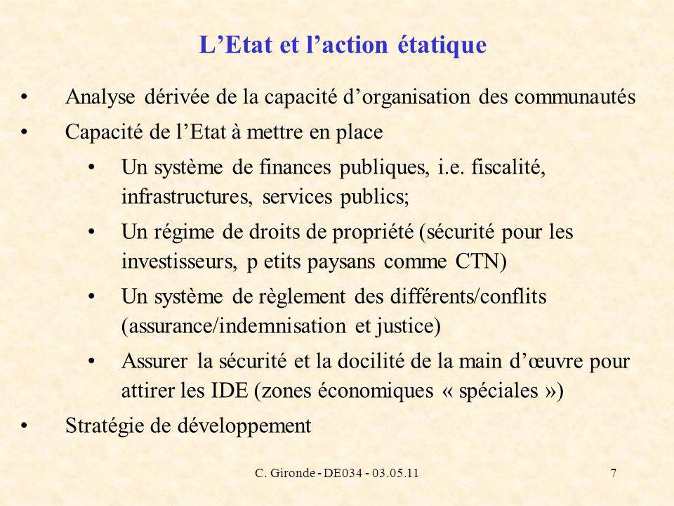 C. Gironde - DE034 - 03.05.117 LEtat et laction étatique Analyse dérivée de la capacité dorganisation des communautés Capacité de lEtat à mettre en pl