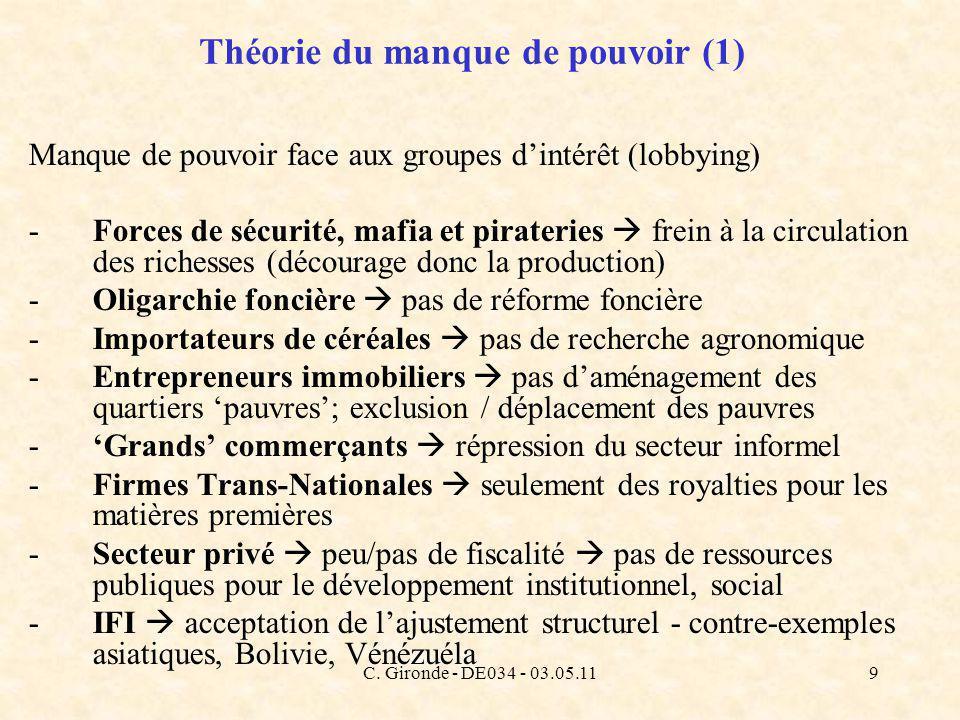 C. Gironde - DE034 - 03.05.119 Théorie du manque de pouvoir (1) Manque de pouvoir face aux groupes dintérêt (lobbying) -Forces de sécurité, mafia et p