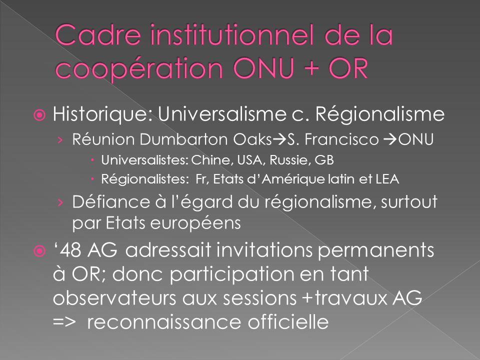 Historique: Universalisme c. Régionalisme Réunion Dumbarton Oaks S. Francisco ONU Universalistes: Chine, USA, Russie, GB Régionalistes: Fr, Etats dAmé