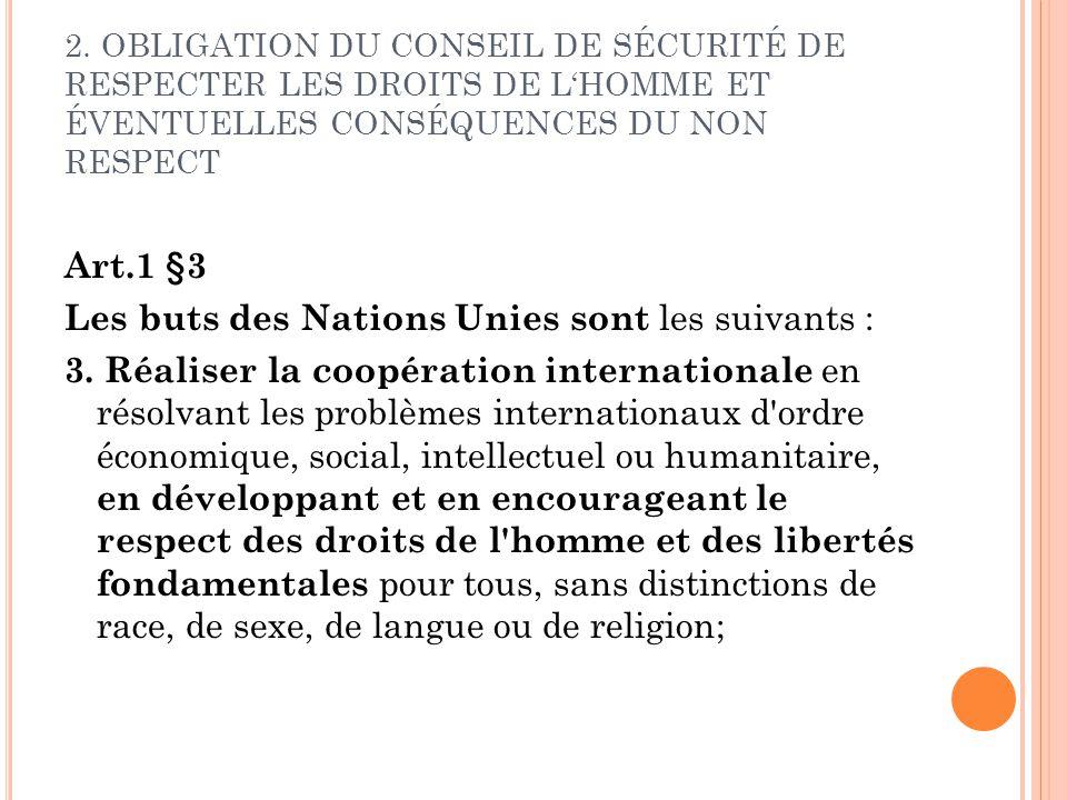 2. OBLIGATION DU CONSEIL DE SÉCURITÉ DE RESPECTER LES DROITS DE LHOMME ET ÉVENTUELLES CONSÉQUENCES DU NON RESPECT Art.1 §3 Les buts des Nations Unies