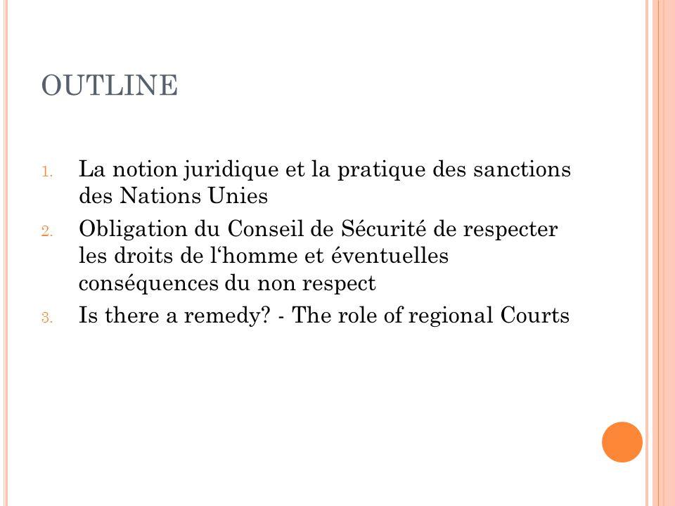 OUTLINE 1. La notion juridique et la pratique des sanctions des Nations Unies 2. Obligation du Conseil de Sécurité de respecter les droits de lhomme e