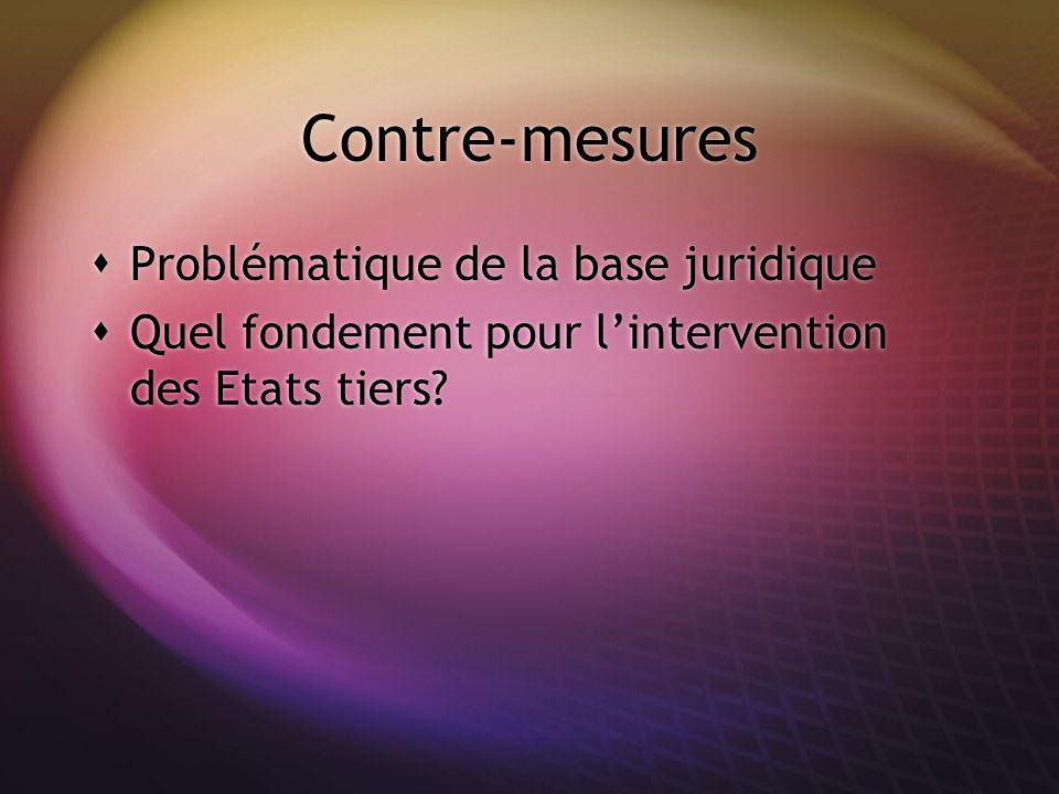 Contre-mesures Problématique de la base juridique Quel fondement pour lintervention des Etats tiers? Problématique de la base juridique Quel fondement