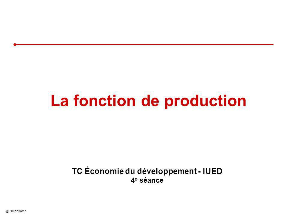 @ Hillenkamp La fonction de production TC Économie du développement - IUED 4 e séance