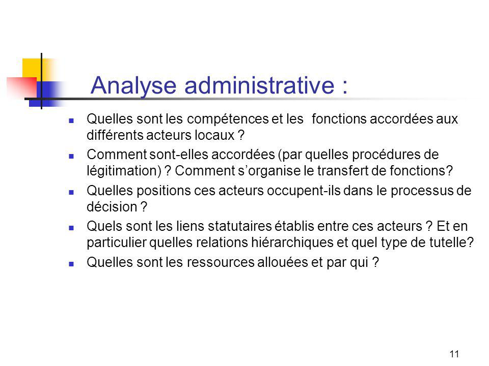 11 Analyse administrative : Quelles sont les compétences et les fonctions accordées aux différents acteurs locaux .