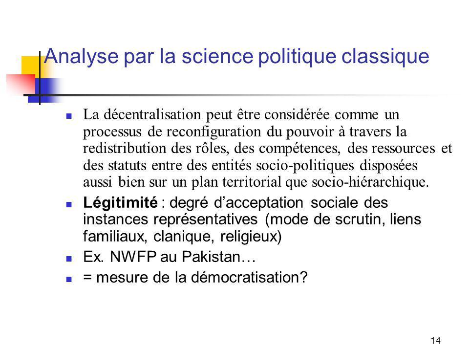 14 Analyse par la science politique classique La décentralisation peut être considérée comme un processus de reconfiguration du pouvoir à travers la redistribution des rôles, des compétences, des ressources et des statuts entre des entités socio-politiques disposées aussi bien sur un plan territorial que socio-hiérarchique.