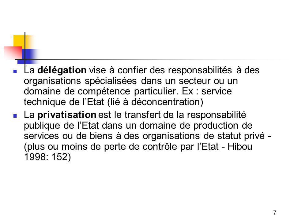 7 La délégation vise à confier des responsabilités à des organisations spécialisées dans un secteur ou un domaine de compétence particulier.