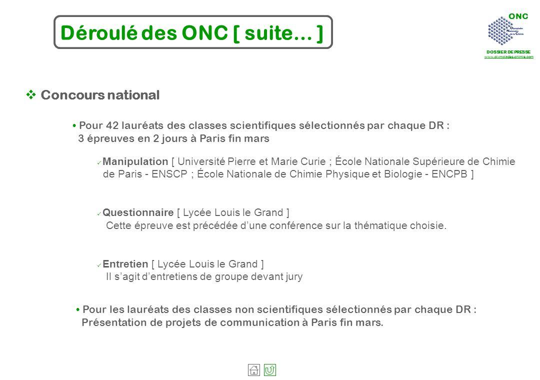 ONC DOSSIER DE PRESSE www.olympiades-chimie.com Déroulé des ONC [ suite… ] Manipulation [ Université Pierre et Marie Curie ; École Nationale Supérieur