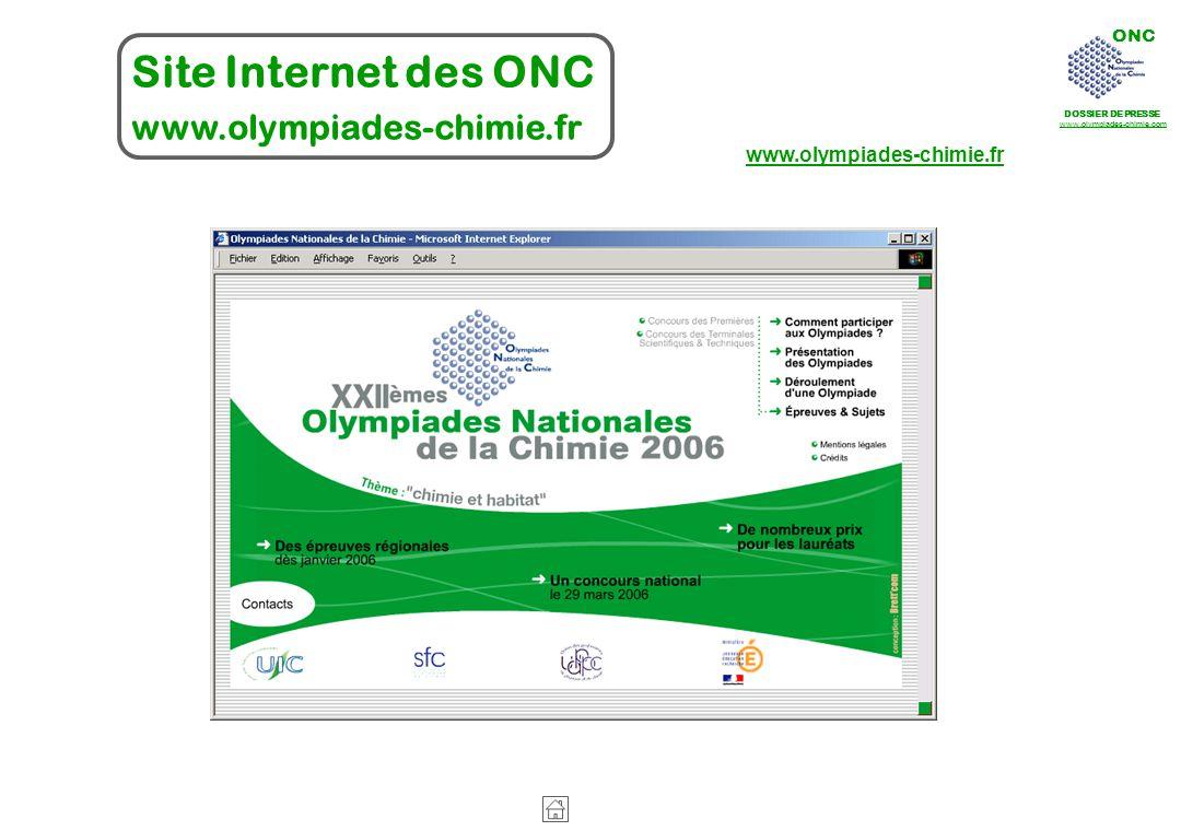 ONC DOSSIER DE PRESSE www.olympiades-chimie.com Site Internet des ONC www.olympiades-chimie.fr