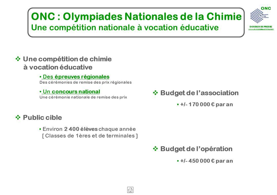 ONC DOSSIER DE PRESSE www.olympiades-chimie.com ONC : Olympiades Nationales de la Chimie Une compétition nationale à vocation éducative Des épreuves r