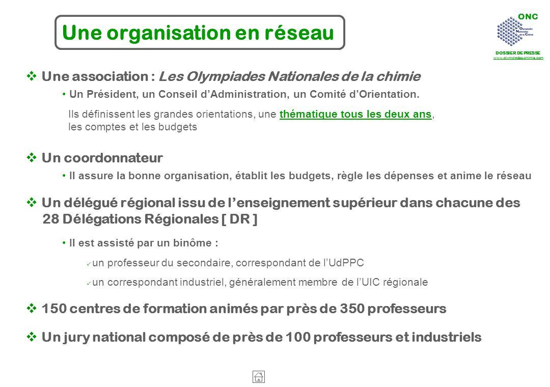 ONC DOSSIER DE PRESSE www.olympiades-chimie.com Une association : Les Olympiades Nationales de la chimie Un Président, un Conseil dAdministration, un