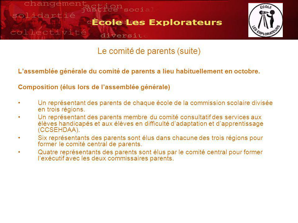 Le comité de parents (suite) Lassemblée générale du comité de parents a lieu habituellement en octobre. Composition (élus lors de lassemblée générale)