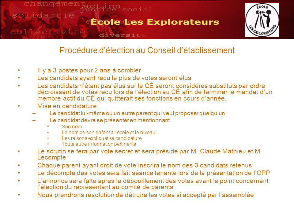 Procédure délection au Conseil détablissement Il y a 3 postes pour 2 ans à combler Les candidats ayant recu le plus de votes seront élus Les candidats