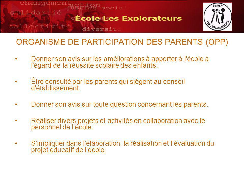 ORGANISME DE PARTICIPATION DES PARENTS (OPP) Donner son avis sur les améliorations à apporter à l école à l égard de la réussite scolaire des enfants.