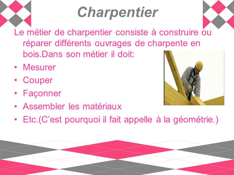 Le métier de charpentier consiste à construire ou réparer différents ouvrages de charpente en bois.Dans son métier il doit: Mesurer Couper Façonner As