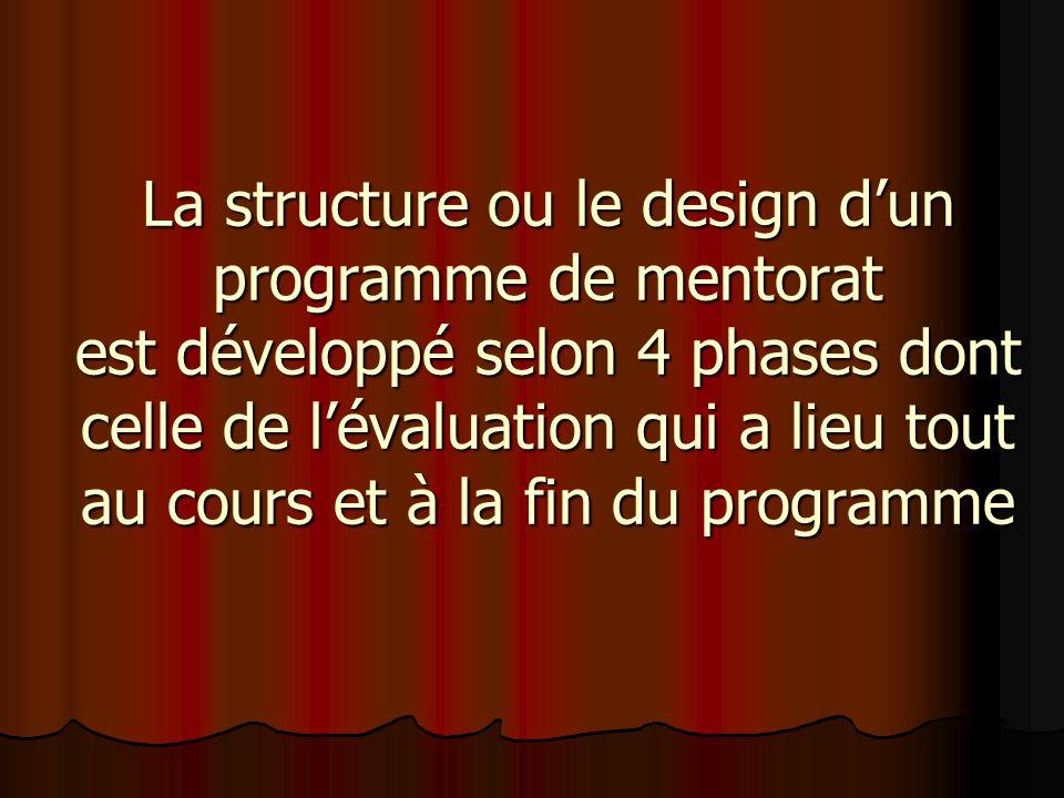 La structure ou le design dun programme de mentorat est développé selon 4 phases dont celle de lévaluation qui a lieu tout au cours et à la fin du programme