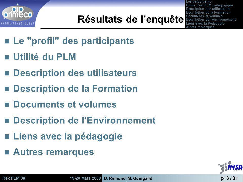 D. Rémond, M. Guingand p 3 / 31 Rex PLM 08 19-20 Mars 2008 Résultats de lenquête Le