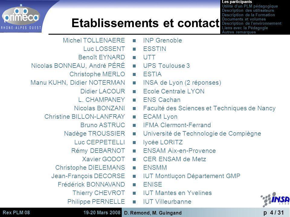 D. Rémond, M. Guingand p 4 / 31 Rex PLM 08 19-20 Mars 2008 Etablissements et contact INP Grenoble ESSTIN UTT UPS Toulouse 3 ESTIA INSA de Lyon (2 répo