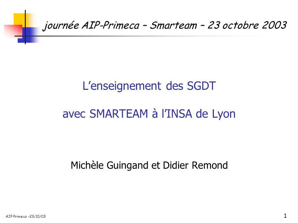 1 AIP Primeca –23/10/03 Lenseignement des SGDT avec SMARTEAM à lINSA de Lyon Michèle Guingand et Didier Remond journée AIP-Primeca – Smarteam – 23 oct