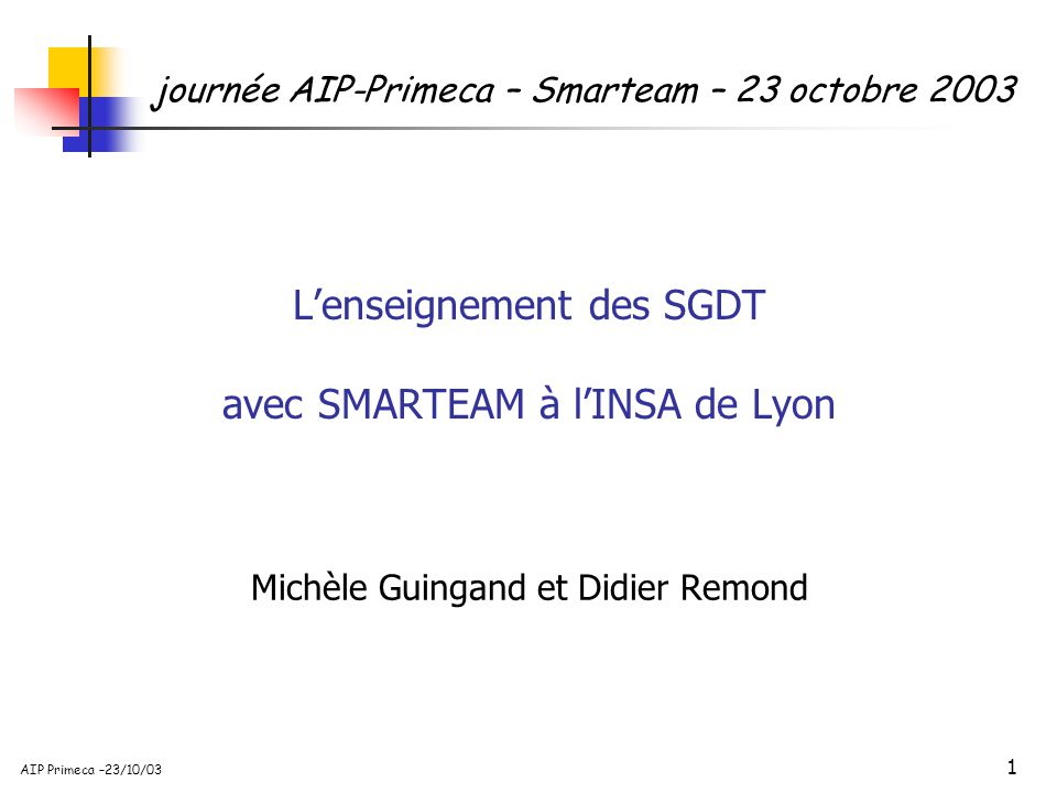 32 AIP Primeca –23/10/03 Configuration initiale Puissance = 11 Kw Vitesse = 1500 tr/mn