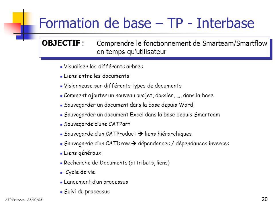 20 AIP Primeca –23/10/03 Formation de base – TP - Interbase Visualiser les différents arbres Liens entre les documents Visionneuse sur différents type