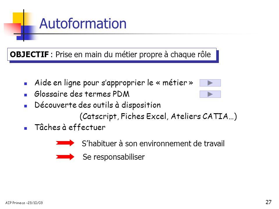 27 AIP Primeca –23/10/03 Autoformation OBJECTIF : Prise en main du métier propre à chaque rôle Aide en ligne pour sapproprier le « métier » Glossaire