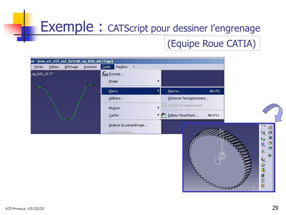 29 AIP Primeca –23/10/03 Exemple : CATScript pour dessiner lengrenage (Equipe Roue CATIA)
