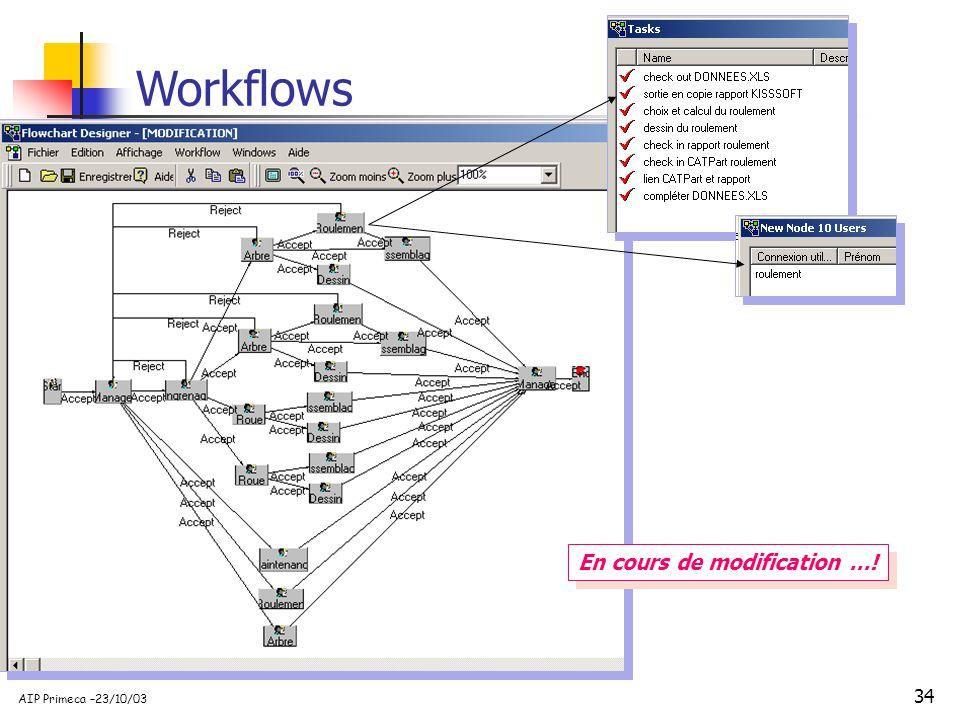 34 AIP Primeca –23/10/03 Workflows En cours de modification …!