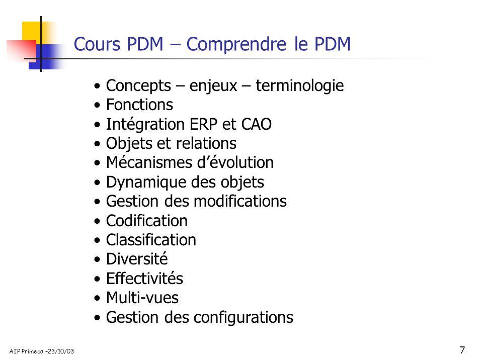 7 AIP Primeca –23/10/03 Cours PDM – Comprendre le PDM Concepts – enjeux – terminologie Fonctions Intégration ERP et CAO Objets et relations Mécanismes