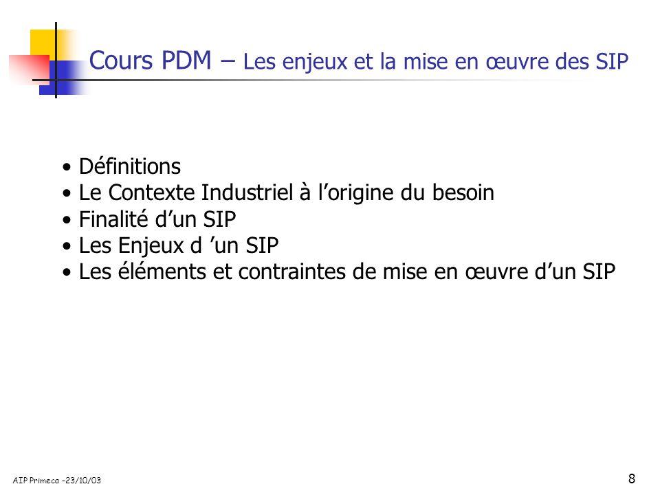 8 AIP Primeca –23/10/03 Cours PDM – Les enjeux et la mise en œuvre des SIP Définitions Le Contexte Industriel à lorigine du besoin Finalité dun SIP Le