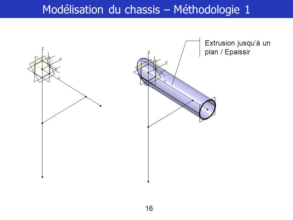 17 Modélisation du chassis – Méthodologie 1 Nervure relimitée / épaissir le profil Puis opérations booléennes ou