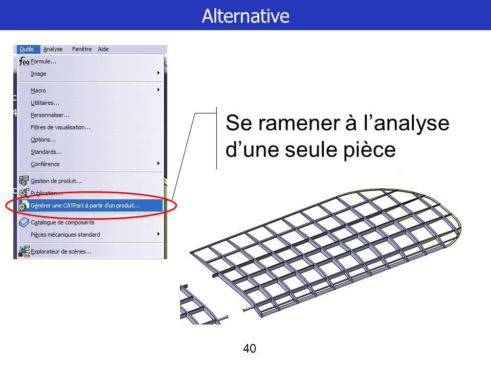 40 Alternative Se ramener à lanalyse dune seule pièce