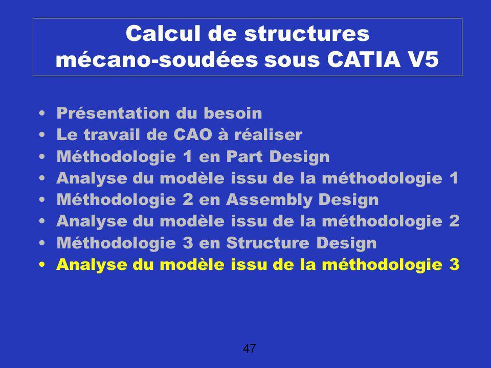 48 Calculs de structure Méthode de passage au modèle danalyse identique que pour un product classique Possibilité de récupérer les propriétés poutres des éléments standards ?