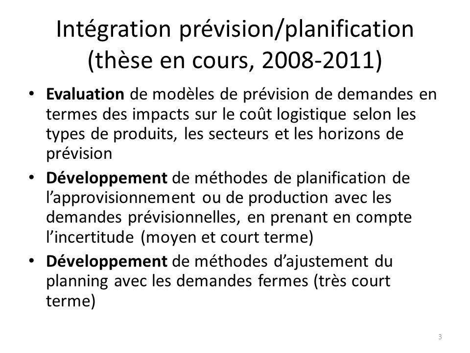 Intégration prévision/planification (thèse en cours, 2008-2011) Evaluation de modèles de prévision de demandes en termes des impacts sur le coût logis