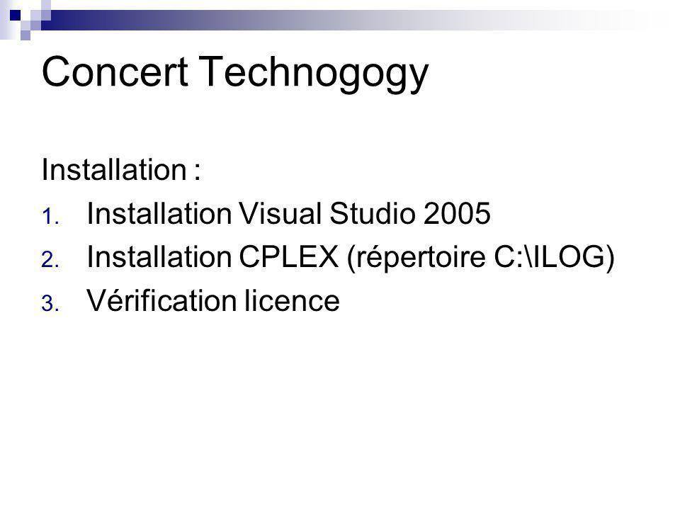 Concert Technogogy Installation : 1. Installation Visual Studio 2005 2. Installation CPLEX (répertoire C:\ILOG) 3. Vérification licence