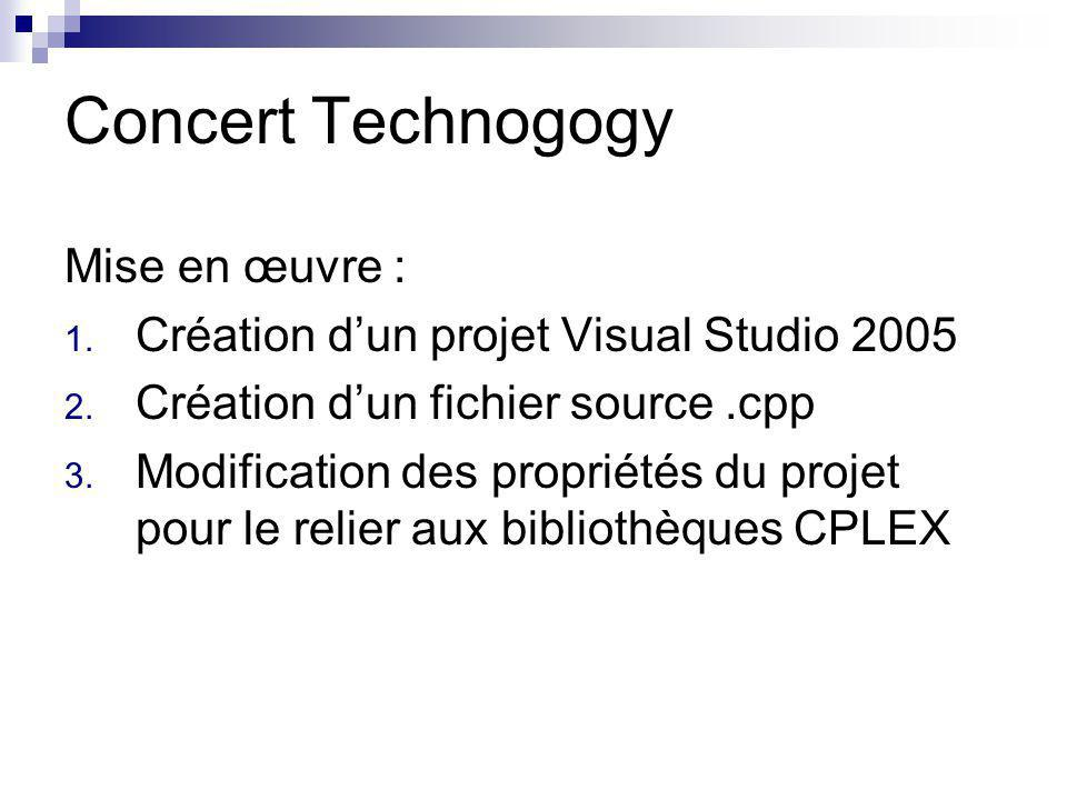 Concert Technogogy Mise en œuvre : 1. Création dun projet Visual Studio 2005 2. Création dun fichier source.cpp 3. Modification des propriétés du proj