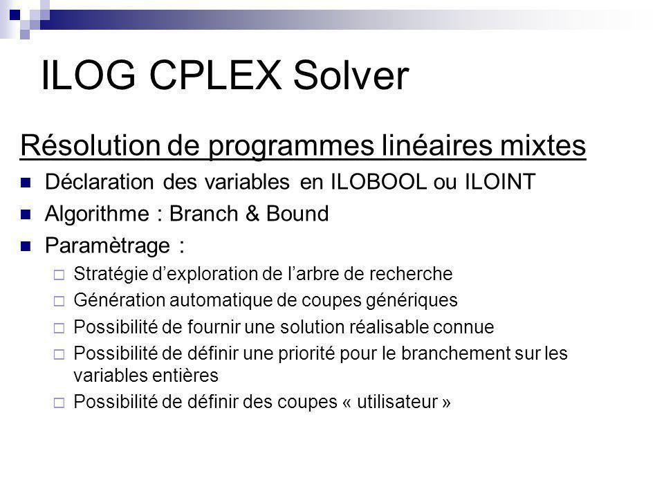 ILOG CPLEX Solver Résolution de programmes linéaires mixtes Déclaration des variables en ILOBOOL ou ILOINT Algorithme : Branch & Bound Paramètrage : S