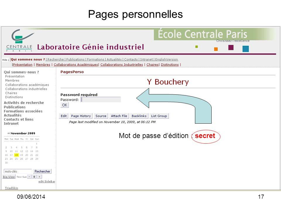 09/06/201417 Mot de passe dédition : secret Pages personnelles