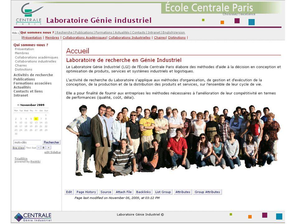 3 Un peu de vocabulaire Serveur web = ordinateur connecté à internet sur lequel se trouve des pages web Nom de domaine = www.lgi.ecp.fr www.lgi.ecp.fr url = www.lgi.ecp.fr/~mousseau/recherche.html www.lgi.ecp.fr/~mousseau/recherche.html HTML = HyperText Markup Langage