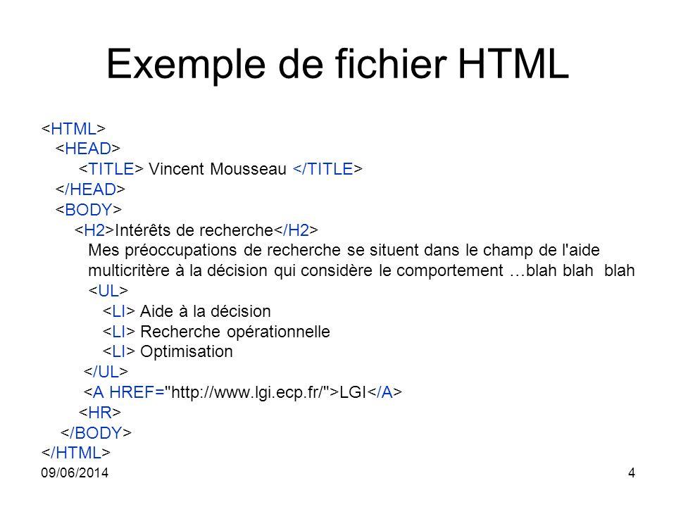 09/06/20144 Exemple de fichier HTML Vincent Mousseau Intérêts de recherche Mes préoccupations de recherche se situent dans le champ de l'aide multicri