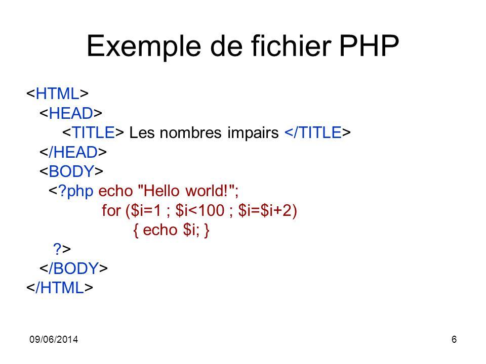 09/06/20146 Exemple de fichier PHP Les nombres impairs <?php echo