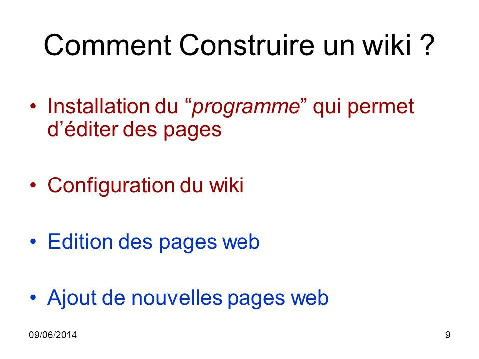09/06/20149 Comment Construire un wiki ? Installation du programme qui permet déditer des pages Configuration du wiki Edition des pages web Ajout de n