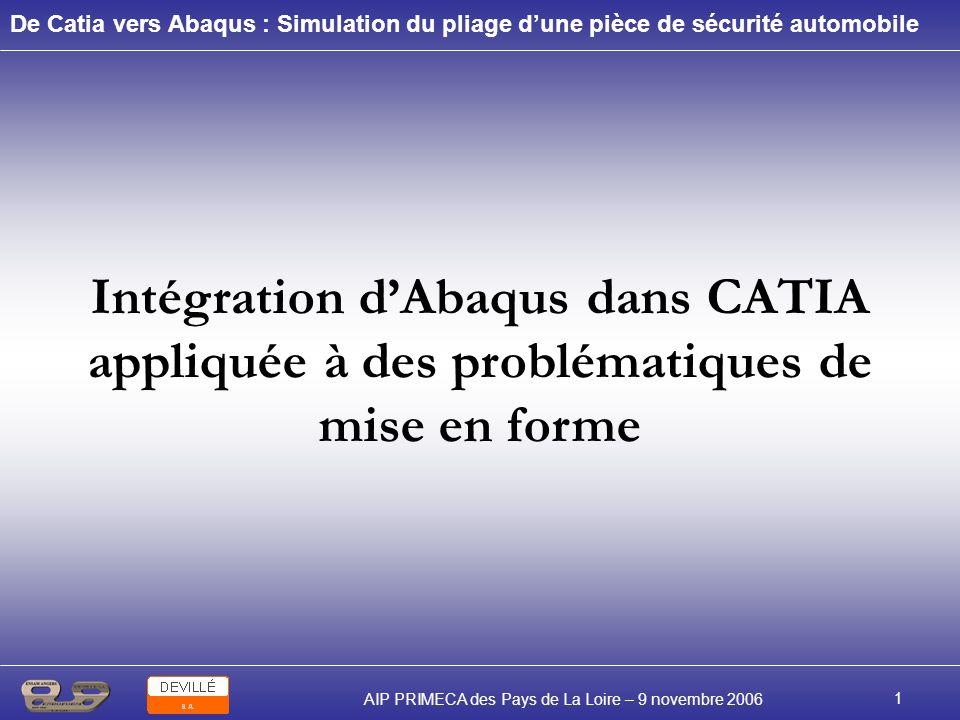 De Catia vers Abaqus : Simulation du pliage dune pièce de sécurité automobile AIP PRIMECA des Pays de La Loire – 9 novembre 2006 2 Problématique : Réalisation dun outil doptimisation du procédé de pliage lors de la conception dune pièce de sécurité