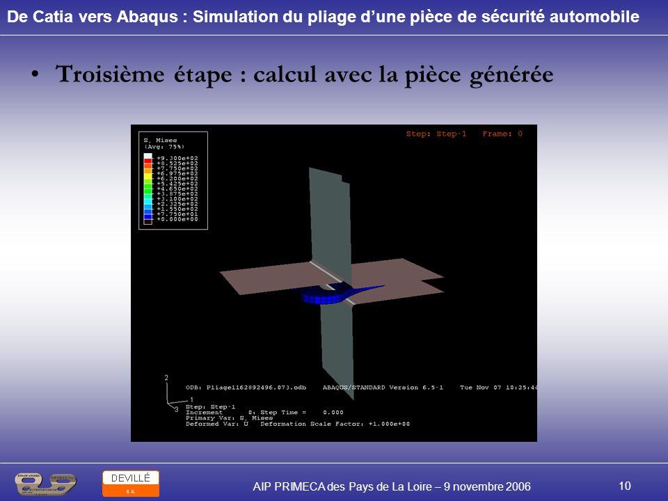 De Catia vers Abaqus : Simulation du pliage dune pièce de sécurité automobile AIP PRIMECA des Pays de La Loire – 9 novembre 2006 10 Troisième étape :
