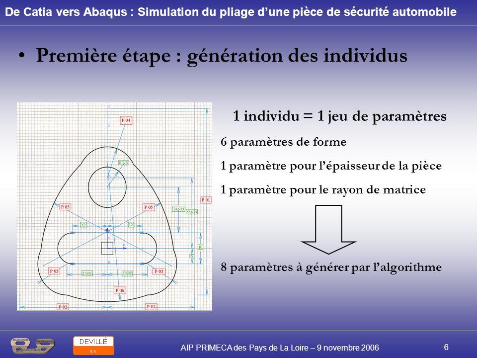 De Catia vers Abaqus : Simulation du pliage dune pièce de sécurité automobile AIP PRIMECA des Pays de La Loire – 9 novembre 2006 6 Première étape : gé